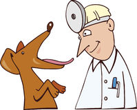 Dog and vet. Cartoon illustration of dog and vet