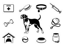 Dog vet clinic icons. Set of dog vet clinic icons medical care to dog. Vector illustration Royalty Free Stock Image