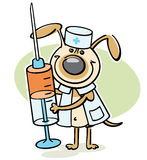 Dog veterinarian character with syringe Royalty Free Stock Image