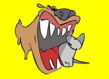 Dog vs Cat. A Dog attacks a Cat vector illustration