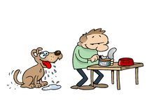 Dog waiting for food. Toon Dog Drooling While His Master Prepares A Dish Of Can Food Stock Photography