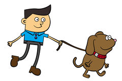 Dog walk. A cute cartoon drawing of a male character taking a walk with his dog stock illustration