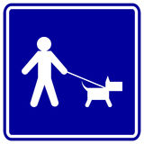 Dog walk blue vector sign Stock Image