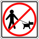Dog walk prohibited vector sign Royalty Free Stock Image