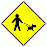 Dog walk yellow vector sign Stock Photo