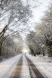 Dog walker crosses snow covered country lane Stock Photo