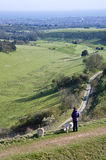 Dog walker and dogs overlook countryside landscape Stock Photography