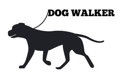 Dog Walker Logo Design Canine Animal Black Icon. Dog walker logo design with canine animal black silhouette on white background. Canine domestic pedigree stock illustration