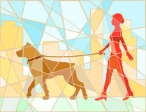 Dog walker mosaic Stock Photos
