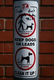 Dog walker's warning of penalty fares. A sign warning dog walkers of the penalty fares they may face should their dog foul and they fail to pick it up Stock Photography