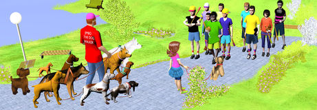 Dog walker walks his dogs in the park meeting basketball boys royalty free illustration