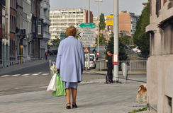 Dog walker. Woman walking her dog down the streets of Liege Royalty Free Stock Photos