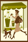 Dog Walking. Vector illustration of a French lady shopping and drinking coffee while walking her dog Stock Photo