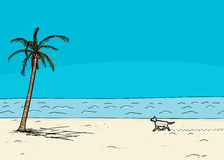 Dog Walking Alone on Beach. Dog walking on sand in tropical cartoon ocean beach scene Royalty Free Stock Photography