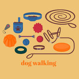 Dog walking elements. Flat isolated set, pet walk items. Doggy training icons collar, leash and headstall. Play objects ball, like Stock Photo