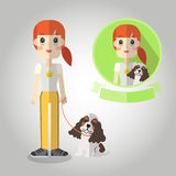 Dog walking Mascot cartoon great for any use. Vector EPS10. Royalty Free Stock Images