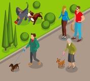Dog Walking Isometric Illustration. Dog walking in park, canine games on green lawn, community of pets owners isometric vector illustration vector illustration