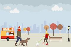Dog walking in a public park in the fall. Two women are walking their dogs in the park in autumn against the background of the cit vector illustration