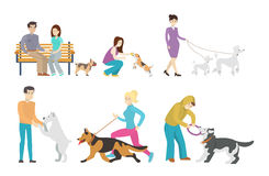 Dog walking set. Royalty Free Stock Photo