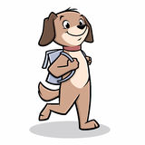Dog Walks To School. Vector illustration of a dog walking to school Stock Photos