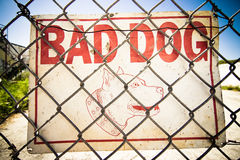 Dog Warning. Beware of the Dog Sign inside a fenced urban area royalty free stock photo