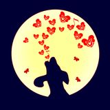 The dog was howling to the moon, a small Red heart. Vector. Illustration of love and hearts. Song of the bones on Valentine s Day. vector illustration
