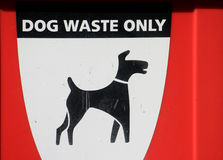 Dog Waste Bin. Sign on a dog waste bin Royalty Free Stock Images