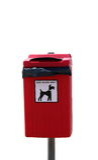 Dog waste bin. Red dog waste bin on post Royalty Free Stock Photos