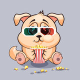 Dog watching a movie. Vector Stock Illustration Emoji character cartoon dog chewing popcorn, watching movie in 3D glasses sticker emoticon for site, infographic Stock Images