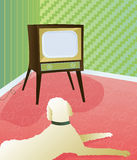 Dog watching retro TV. Big, fluffy dog on floor in front of retro style television Vector Illustration