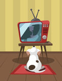 Dog watching TV. White dog looks a kiss on TV. Vector illustration Stock Photos