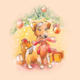 Dog watercolor cristmas illustration Royalty Free Stock Photos