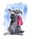 Dog waving hello on farewell Stock Photography