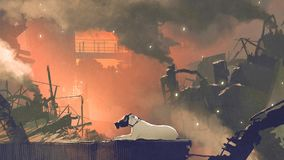 The dog wearing gas mask sitting in city. With air pollution, digital art style, illustration painting Stock Image