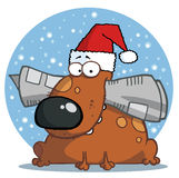 Dog wearing a santa hat and chewing on a newspaper Royalty Free Stock Photo