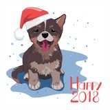 Dog wearing Santa hat. Happy New 2018 Year concept. Winter season card, banner, flyer, etc. Vector illustration in eps8 format Stock Photos