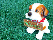 Dog with welcome sign on green background Stock Photos