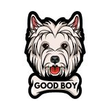Dog West Highland White Terrier face with bone. Good boy lettering. Vector illustration. Dog West Highland White Terrier face with bone. Good boy lettering Royalty Free Stock Photo