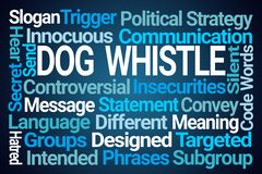 Dog Whistle Word Cloud. On Blue Background royalty free illustration