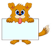 Dog with white board Royalty Free Stock Images