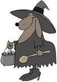 Dog witch. This illustration depicts a dog dressed in a Halloween witches costume Stock Photo