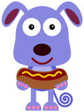 Dog With Hotdog Stock Images
