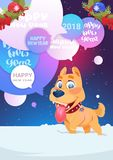 Dog On Wither Holidays Card Happy New Year 2018 Background Design. Vector Illustration Stock Photo