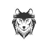 Dog or wolf head illustration in one color Stock Photography