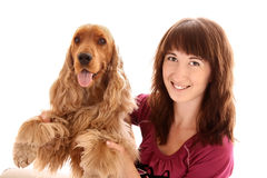 Dog and woman Stock Photos