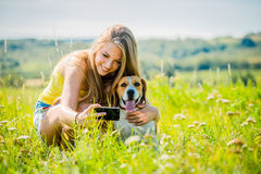 Dog and woman - happy life Royalty Free Stock Photo