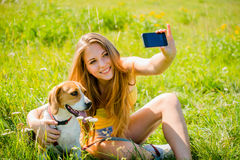 Dog and woman - happy memories Royalty Free Stock Photos