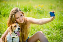 Dog and woman - happy memories Royalty Free Stock Images