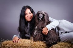 Dog and woman Royalty Free Stock Photo