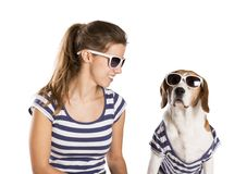 Dog and woman in studio Stock Photography